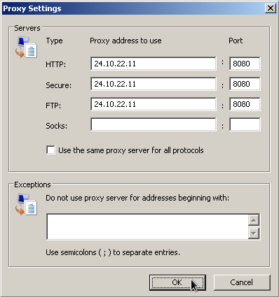 IE proxy configuration
