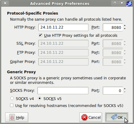 using http proxy in seamonkey